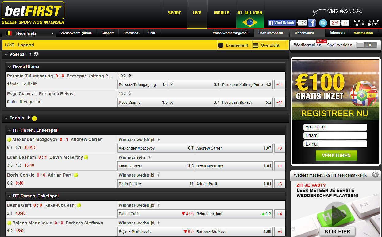 Live Betting betFIRST.be